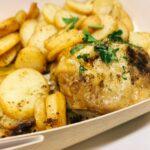 Fondant de poulet farci aux cèpes & Pommes de terre à la Sarladaise